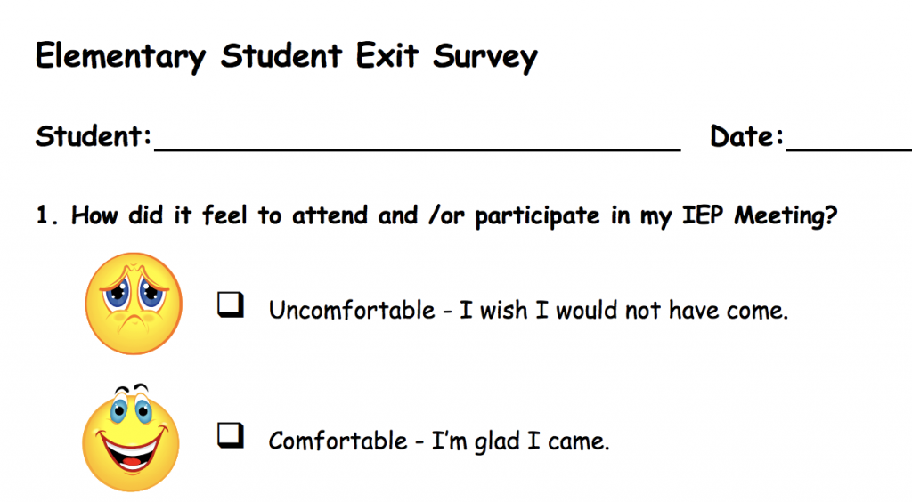 Screenshot of Elementary Student Exit Survey