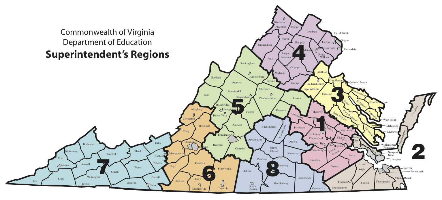 Map of the Commonwealth of Virginia Department of Education Superintendent's Regions