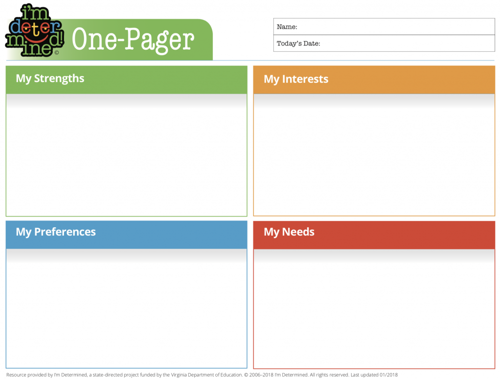 One-Pager form with 4 sections: My Interests, strengths, preferences, needs