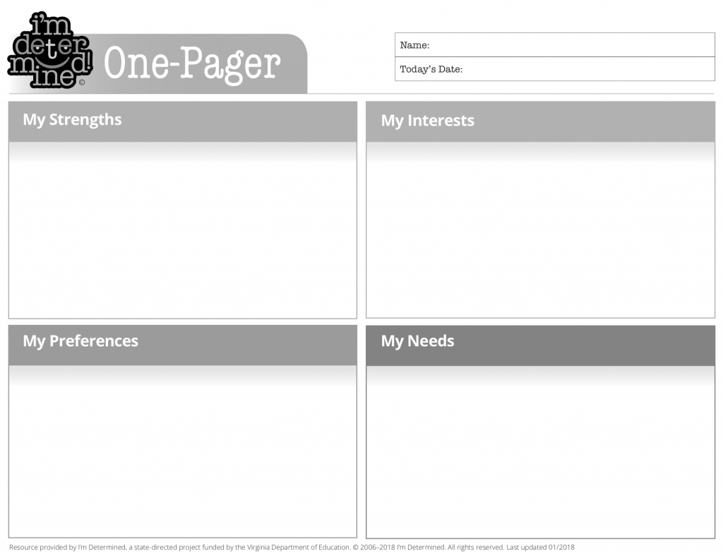 Black & White version of One Pager Template
