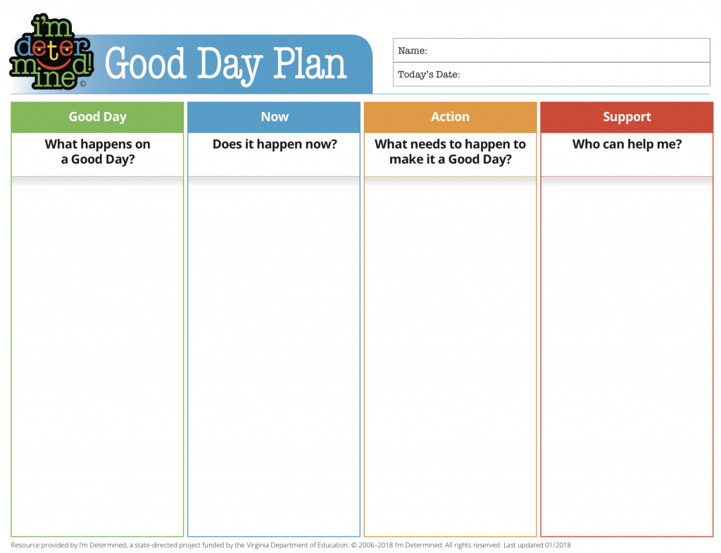 Good Day Plan with 4 sections: Good Day, Now, Action, and Support.