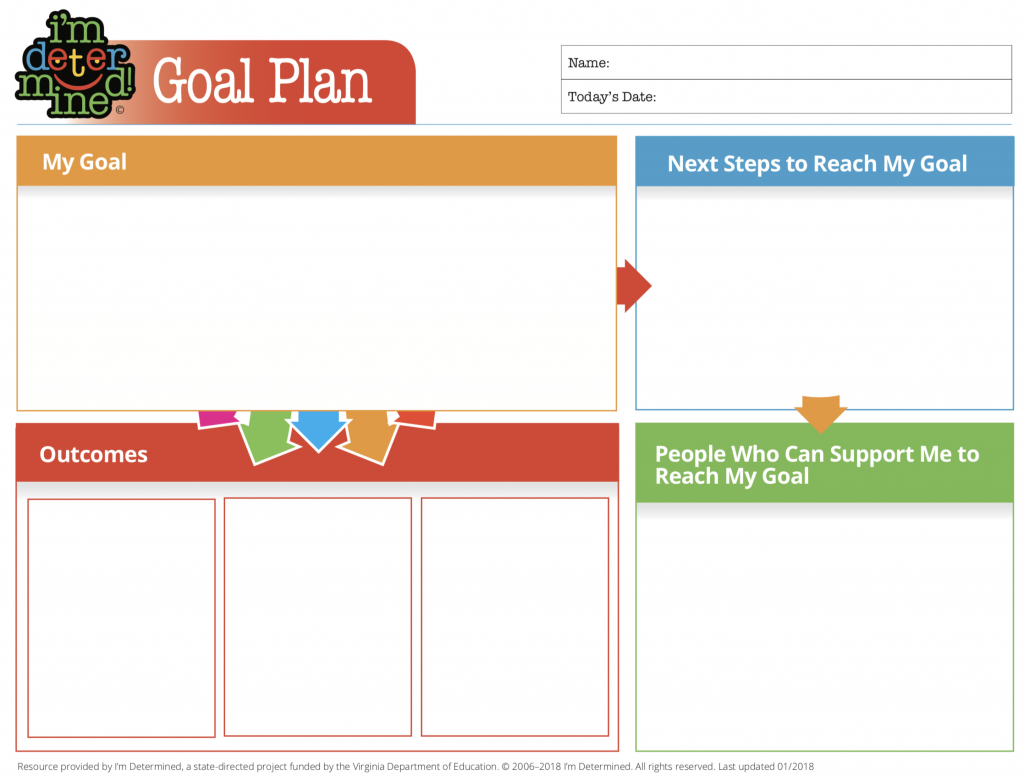 Goal Plan template with 4 sections: My Goal, Next Steps to Reach My Goal, People Who Can Support Me, and Outcomes.