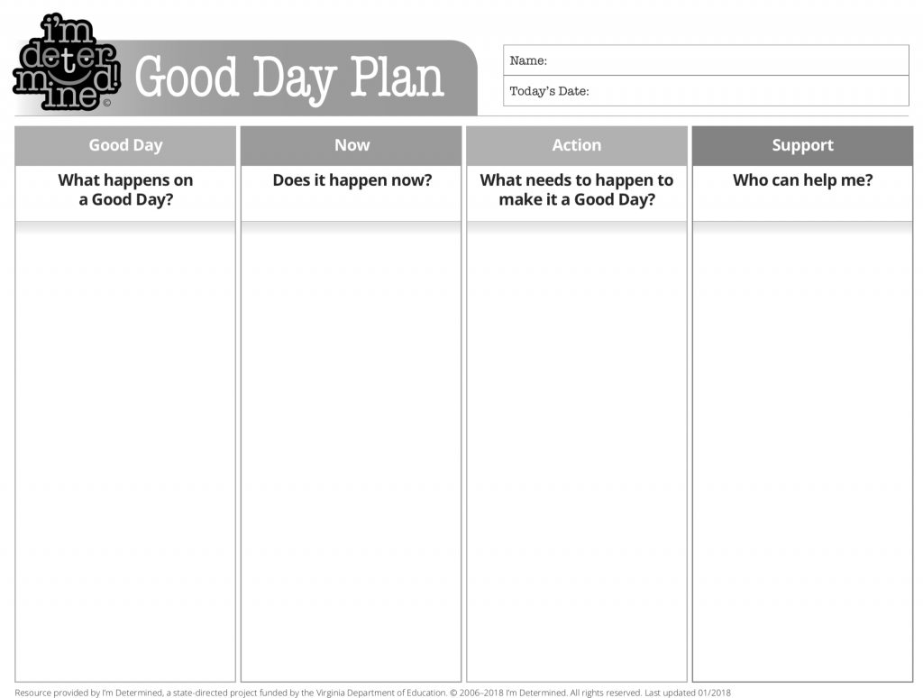 Black & White version of the Good Day Plan - PDF document