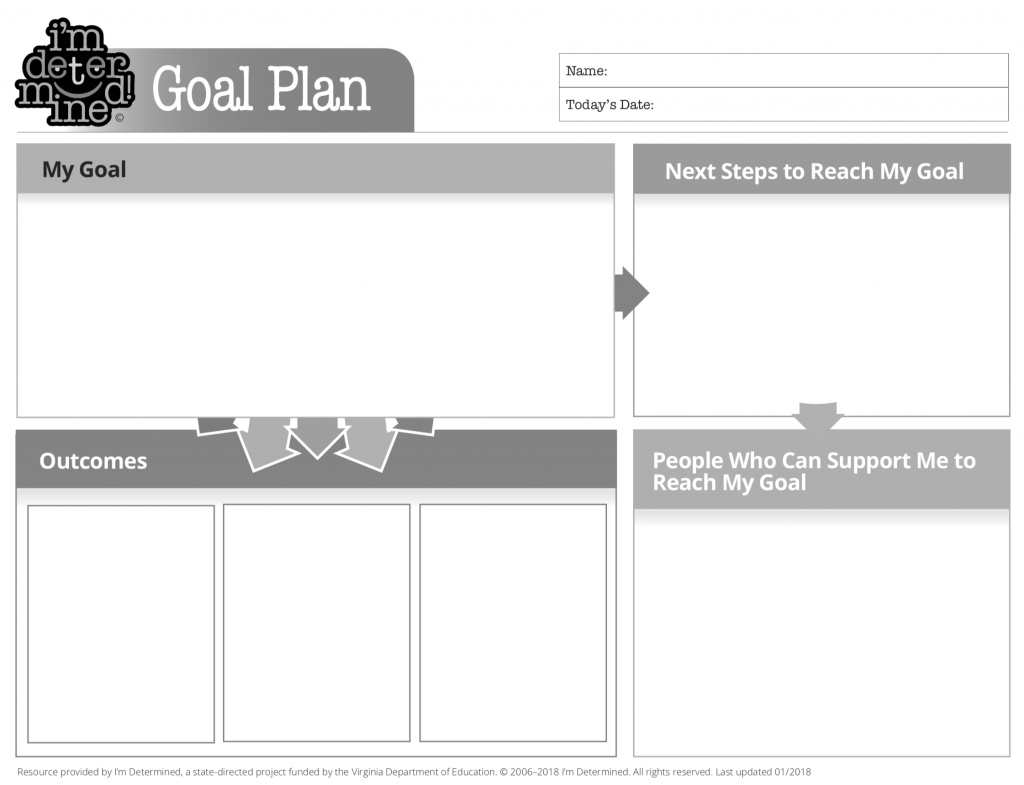 Black and white version of Goal Plan Template - PDF