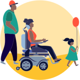 Illustration of 3 individuals, one male with a red hat and green shirt, walking behind an adult female with a red shirt, navigating with a power wheelchair, and a girl with a green dress, holding a red balloon.