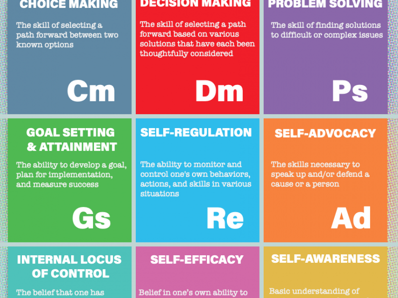 Thumbnail of elements of I'm Determined poster - grid of 9 colorful blocks with elements listed inside with definitions